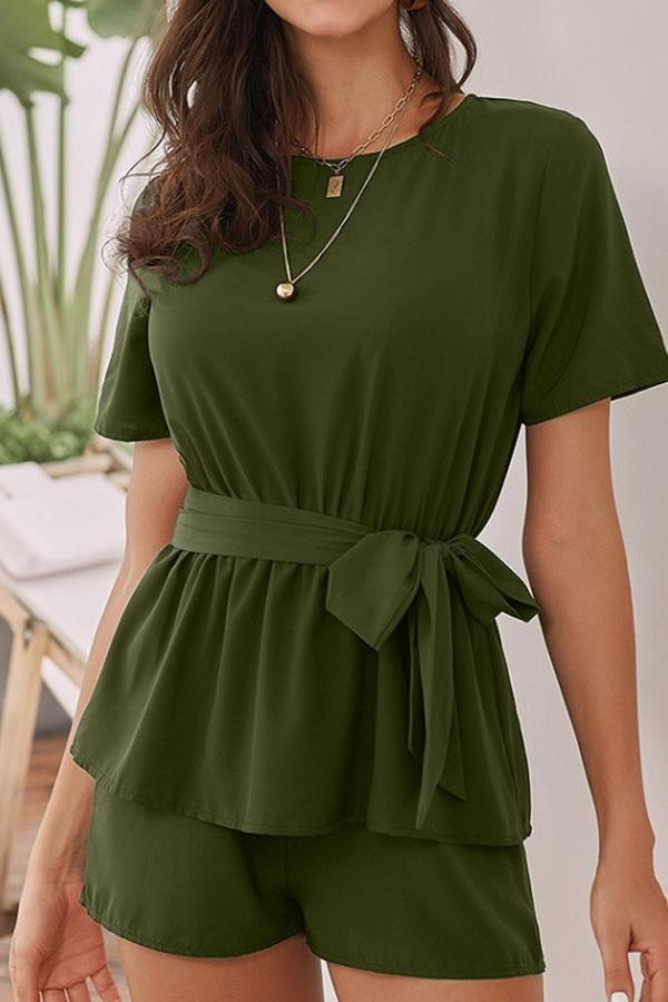 Round Collar Short Sleeve High Waist Tie Jumpsuit - Pavacat