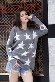 Round Neck Star Loose Sweater - Pavacat
