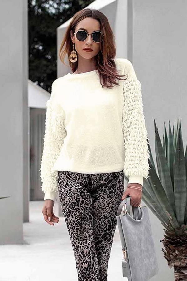 Round Neck Tassel Sleeve Sweater - Pavacat