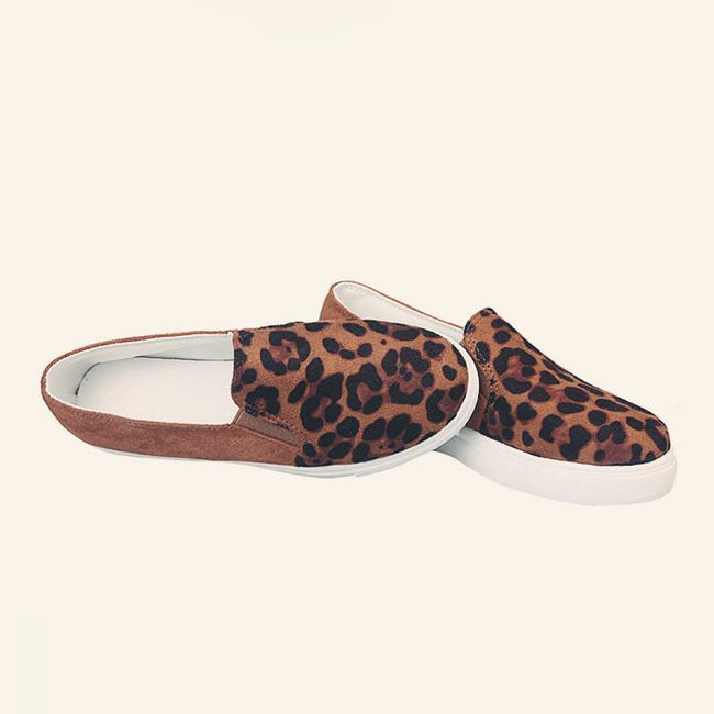 Rubber Round Toe Leopard Flats Shoes - Pavacat