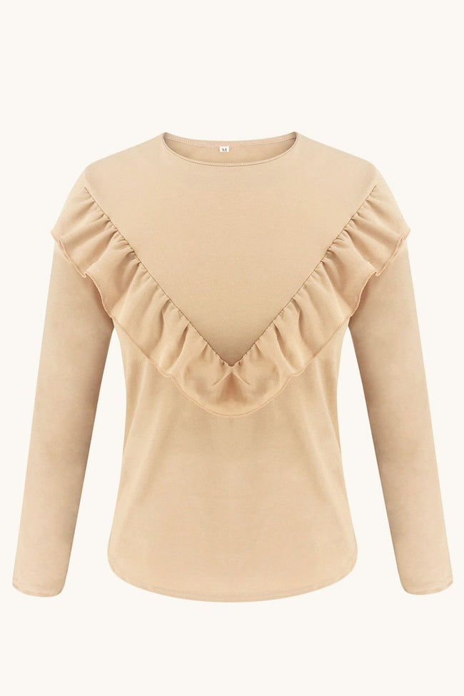 Ruffle Round Neck Long Sleeve Top - Pavacat