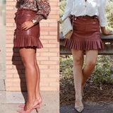 Sash Belt PU Leather Ruffled Skirt - Pavacat
