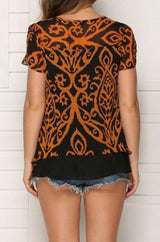 Short-sleeved Lace Top With Flounces - Pavacat