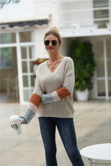 Simple Round Neck Loose Sweater - Grey - Pavacat
