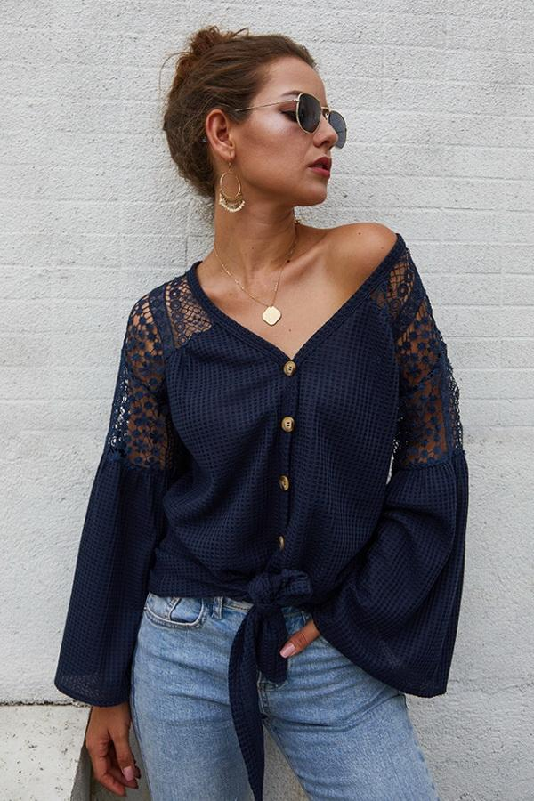 Single Breasted Front Knot Shirt - Pavacat