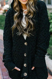Single-breasted Long-sleeved Hooded Knit Cardigan - Pavacat