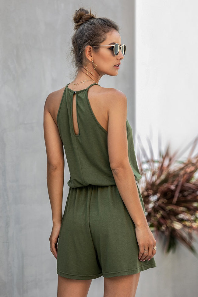 Sleeveless Lace Hollow Halter Romper - Pavacat