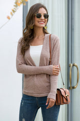 Slim Chest Cutout Cross Over Pullover - Pavacat