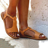 Solid Color Buckle Open Toe Flat Sandals - Pavacat