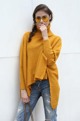 Solid Color High Collar Irregular Sweater - Pavacat
