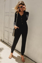 Solid Color High-waisted Jumpsuit - Pavacat