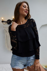 Solid Color Nine Point Sleeve Lace T-shirt - Pavacat