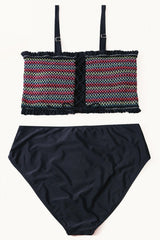 Split Color Smocked Bandeau Bikini Set - Pavacat