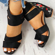 Square Heel Open Toe Embroider Sandals - Pavacat