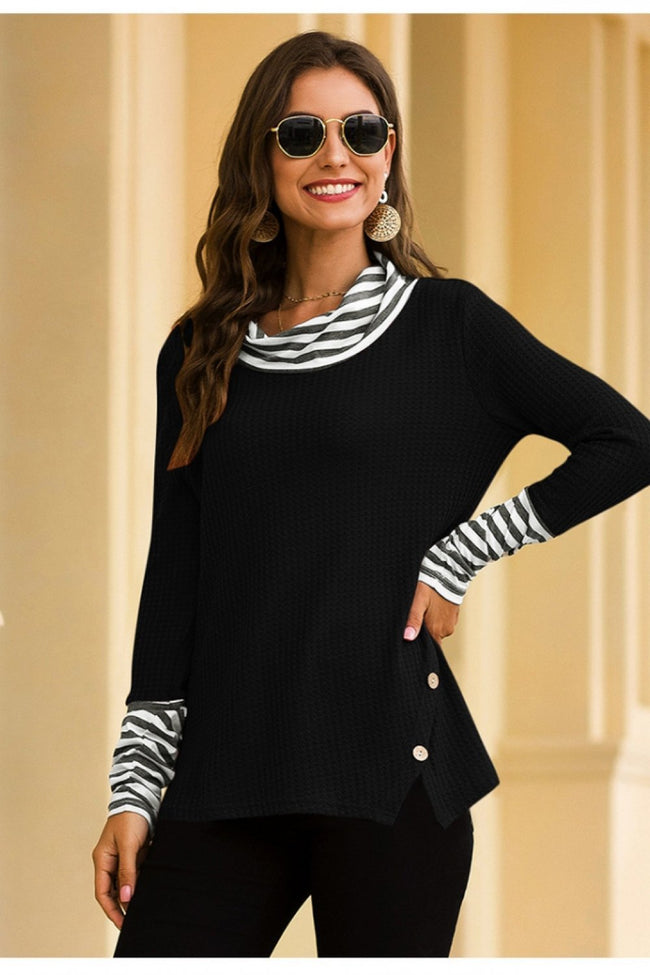 Stacked Collar Stripes Sweatshirt - Pavacat