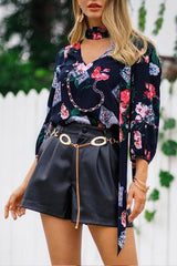 Streetwear Floral V Neck Loose Blouse - Pavacat
