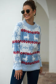 Stripe Christmas Snow Deer Pullover - Pavacat