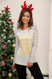 Stripe Spliced Christmas Sweatshirt - Pavacat