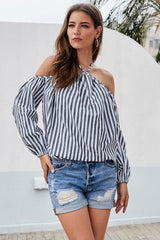 Striped Cold Shoulder Loose Blouse - Pavacat