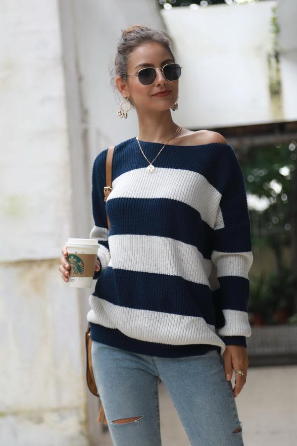 Striped Long-sleeved Loose Sweater - Pavacat