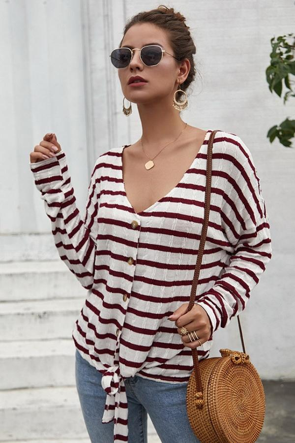 Striped V Neck Front Knot Short Cardigan - Pavacat