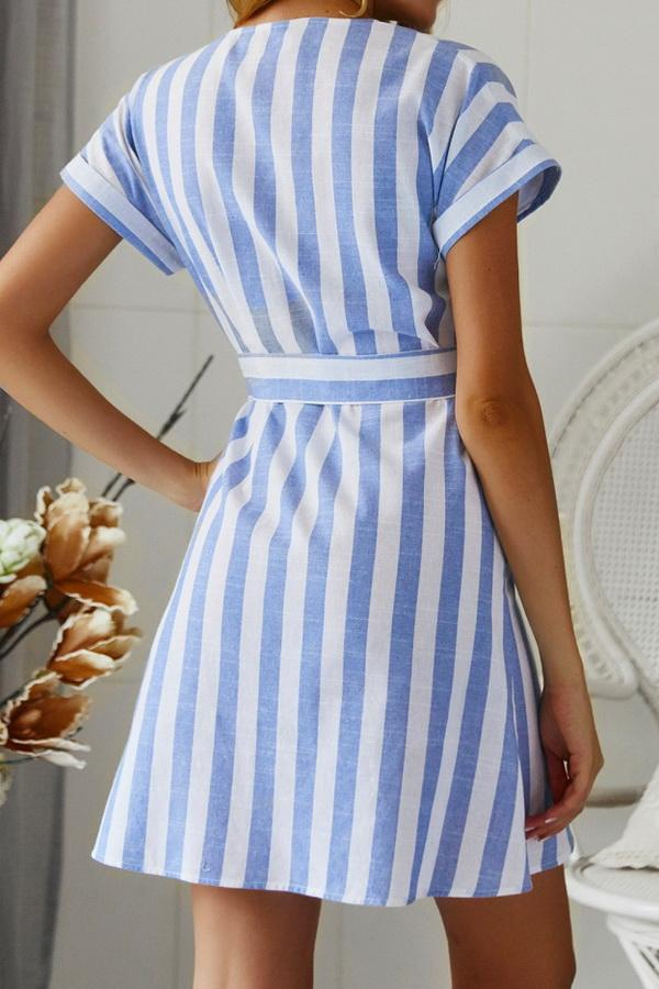 Summer Blue Striped Dress With Belt - Pavacat