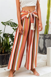 Tassle Split Striped Wide Leg Pants - Pavacat
