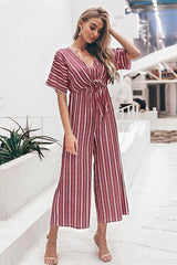 Tell The News Striped Jumpsuit - Blue - Pavacat