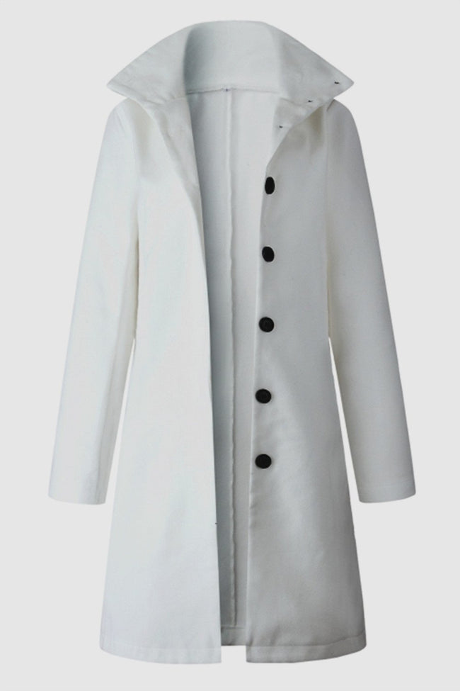Turn-down Collar Single Breasted Coat - Pavacat