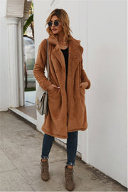 Tweed Lapel Pocket Brown Coat - Pavacat