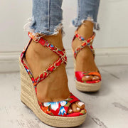 Twine Woven Floral Cross-Strap Wedges Sandals - Pavacat
