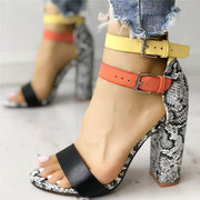 Two-color Buckles Snake Print Peep Toe Sandals - Pavacat