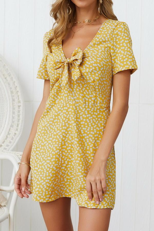 V Neck Bowknot Short-sleeved Dress - Pavacat