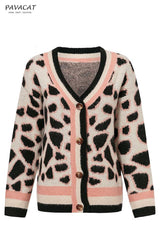 V-neck Buttons Short Leopard Cardigan - Pavacat