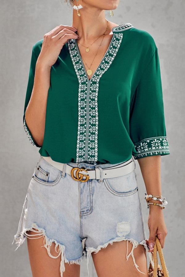 V-neck Ethnic Style Embroidered Lace Blouse - Pavacat