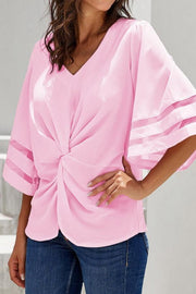 V-neck Loose Hollow Half-sleeve Top - Pavacat