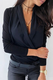 V Neck Office Long Sleeve Blouse - Pavacat