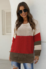 V Neck Patchwork Ruffle Knit Sweater - Pavacat