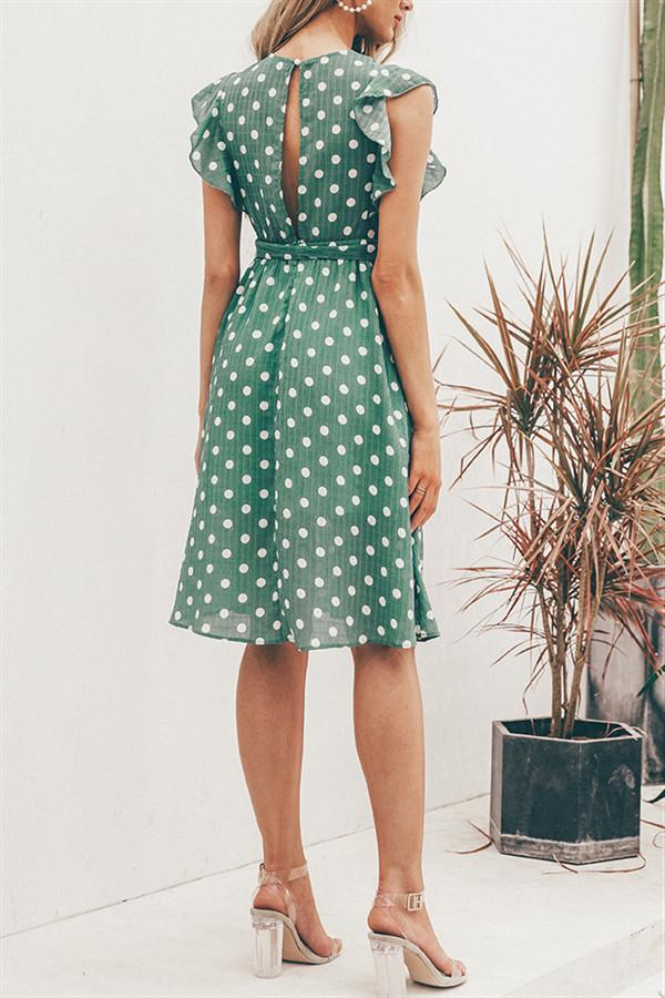 V Neck Polka Dot Green Ruffle Summer Dress - Pavacat