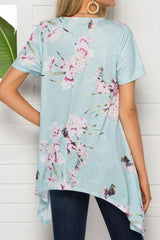 V-neck Print Irregular Mid-length Top - Pavacat