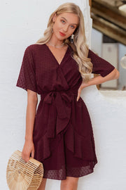 V-neck Ruffled Sash Belt Wrap Dress - Pavacat