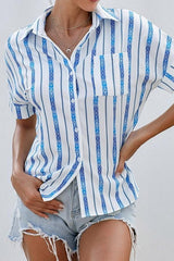 V-neck Single-breasted Loose Short-sleeved Shirt - Pavacat