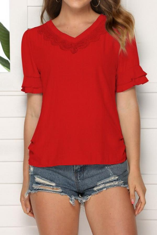 V-neck Solid Color Hollow Loose Top - Pavacat