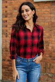 Versatile Plaid Roll Sleeve Shirt - Pavacat