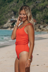 Vintage Belt Red One Piece - Pavacat