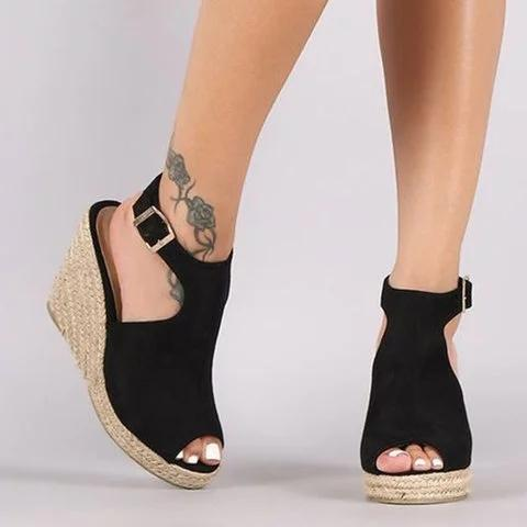 Wedge Heel Sandals Adjustable Buckle Peep Toe Sandals - Pavacat