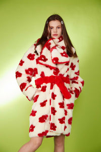 Flower Faux Fur Scarf - Red