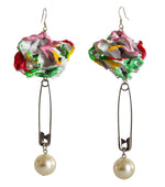 Load image into Gallery viewer, Painted Rose and Pearl Earrings - Multi