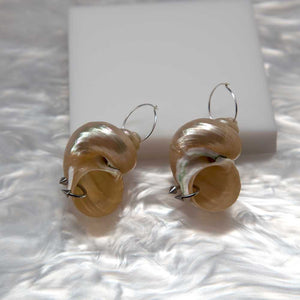 soft blonde, shell earrings, earrings, shell, stainless steel earrings