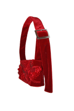 Load image into Gallery viewer, Matilda Aberg, Mini Bag, 90s Handbag, Sustainable Designer, Independent Designer, Stockholm Designer, Independent Fashion, Kathleen, Shop Kathleen, Kathleen Los Angeles, Los Angeles Boutique, Independent Boutique, Crushed Velvet Bag, Red Handbag, Embroidered Bag, Beaded Bag, Beaded Flowers, Floral Handbag, Flower Handbag, Mini Bag, Recycled Fabric, Upcycled